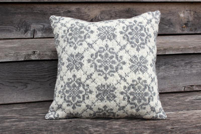 Accent pillow cover knitted White-Grey
