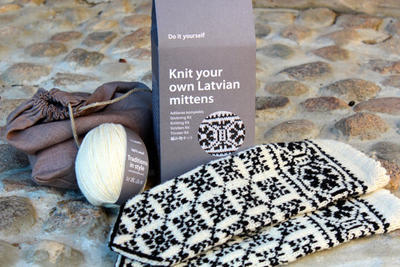 Latvian Mitten DIY Knitting Kit Black and White