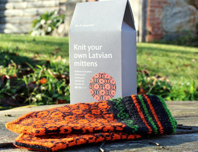 Latvian Mitten knitting DIY kit Black and Orange