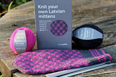 Latvian Mitten Knitting DIY Kit Pink and Grey