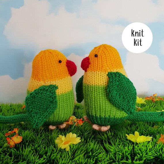 Lovebirds knit kit - cute love birds knitting kit with button badge