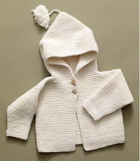 Knitted Garter Stitch Infant Hoodie
