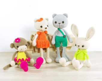 Mix and match PATTERN BUNDLE - Bunny, Monkey, Cat and Teddy bear