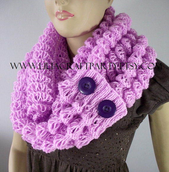 Angel Wings Winter Scarf Cowl with Buttons
