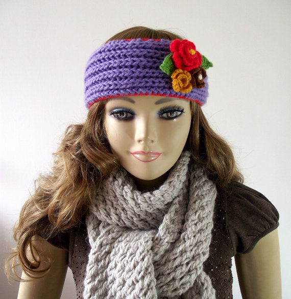 Headwrap Knitted ears warmer crochet flowers headband pdf file Instant Download