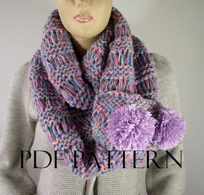 I Love Pompoms Scarf Cowl Pattern