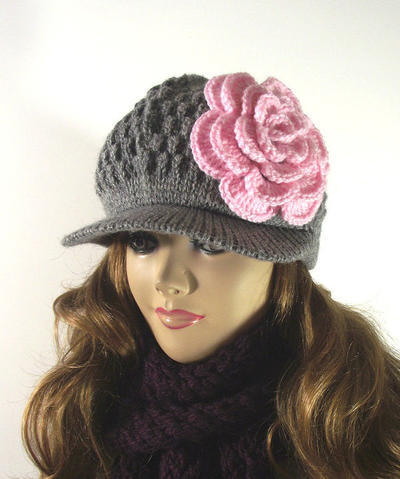 Newsboy Brim Cap Blossom Flower Hat with Crochet flower