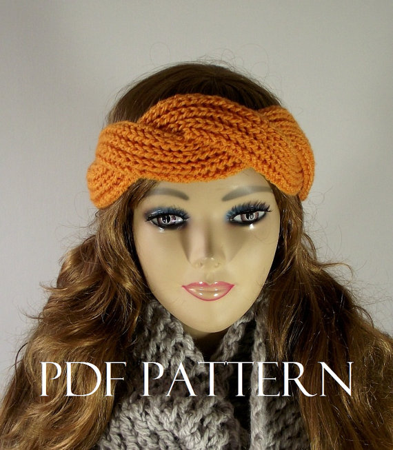 Regina Headband - Ear warmer Knit Pattern twist headband pdf pattern