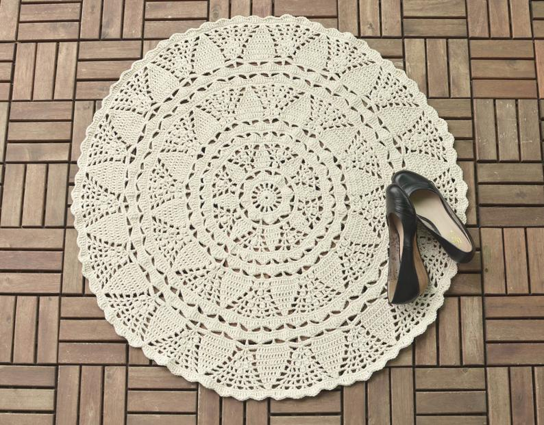 Crochet Doily Rug - White large lace rug