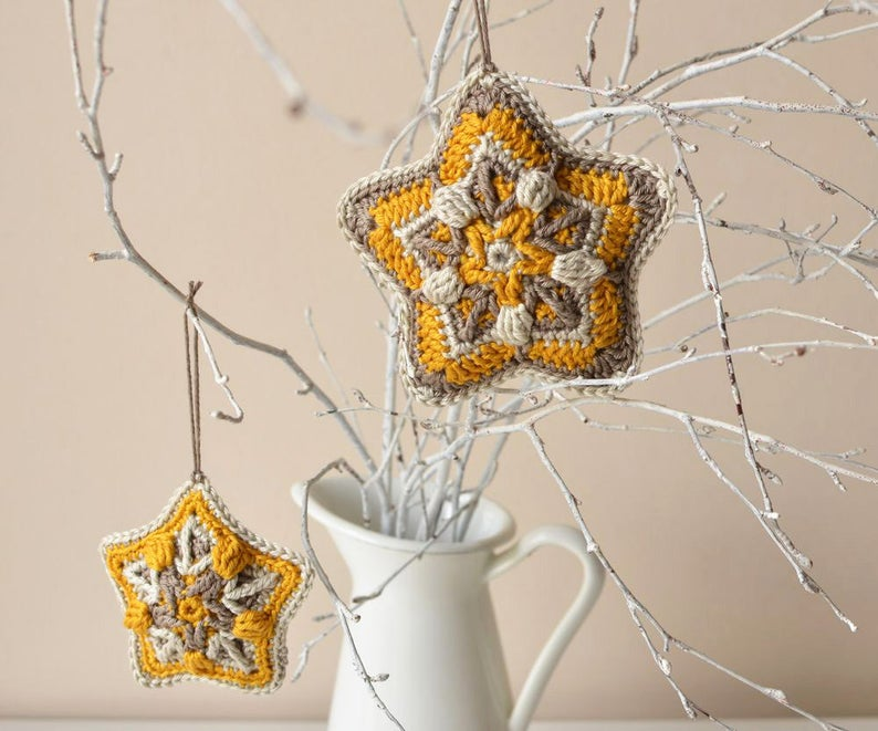 Crochet star Christmas ornament