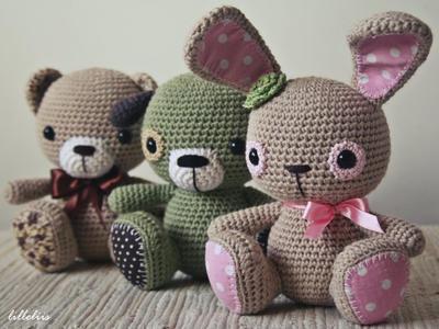 Amigurumi cuties - bunny, puppy and teddy