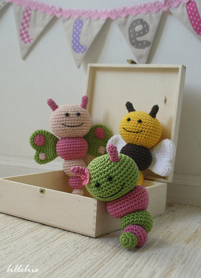 Bug rattles - Butterfly, Bee and Caterpillar
