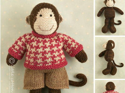 Toy knitting pattern for a boy monkey with a houndstooth sweater