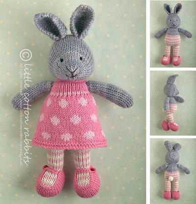 Toy knitting pattern for a bunny rabbit girl in a dotty dress