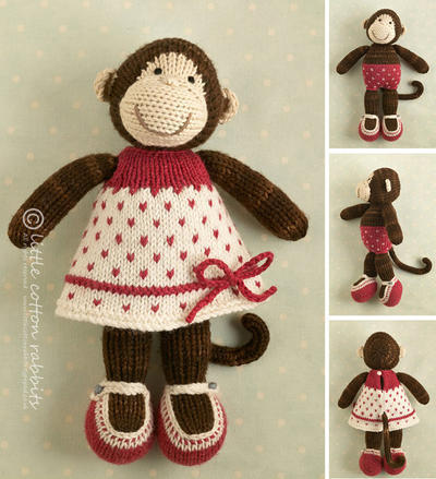 Toy knitting pattern for a Monkey girl in a dotty dress