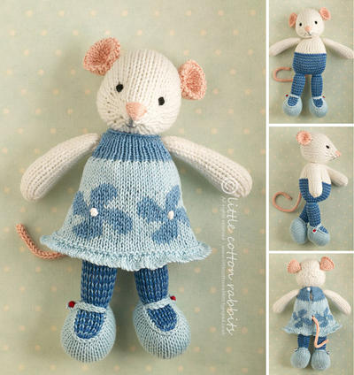 Toy knitting pattern for a Mouse girl