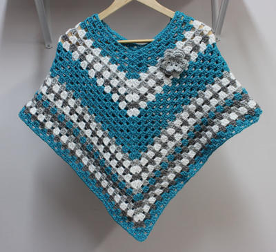Girls Poncho with Flower in multiple sizes