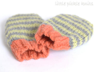 Baby Mittens - 4ply stripy mittens newborn to 1 year