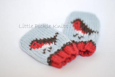 Baby Mittens - little robins - newborn to 1 year