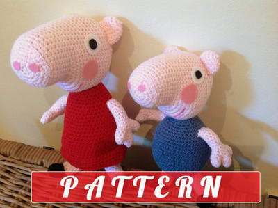 PDF pattern Peppa Pig and George plush doll