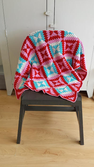 US / Dutch Crochet pattern patchwork blanket (geometric, graphic pattern)