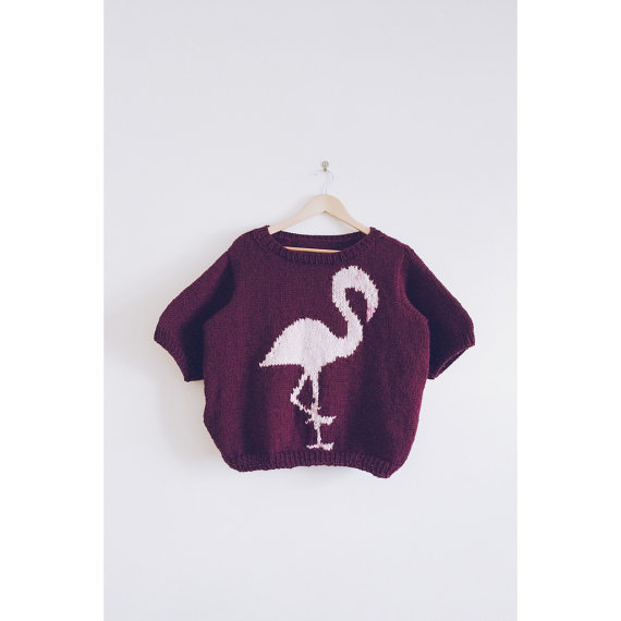 "KNIT PATTERN in english and french - Sweater  ""Adopt a Pink Flamingo"""