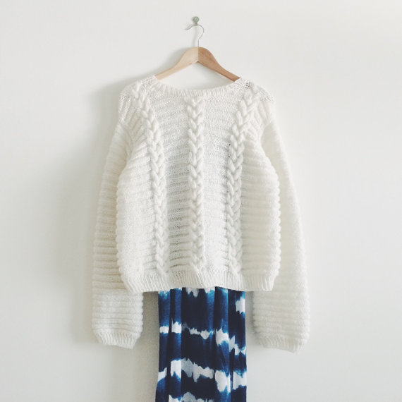 "KNIT PATTERN in english and french - Sweater ""Betty White"""