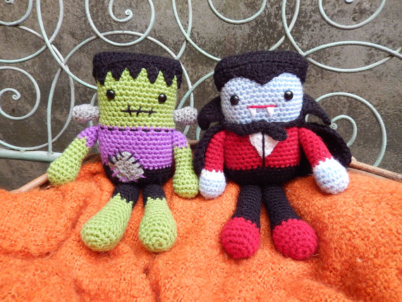 Frankie and Draco Amigurumi Halloween Character Dolls
