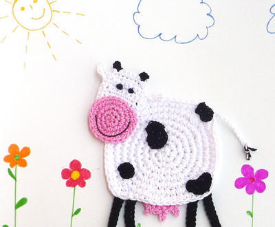 Crochet Cow Coaster DIY
