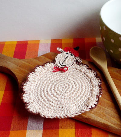 Crochet Sheep Coaster Pattern II, DIY