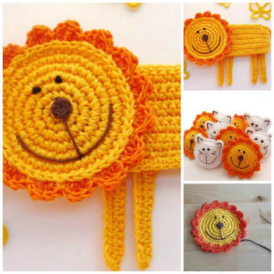 Lion Applique or Coaster - Crochet pattern, DIY