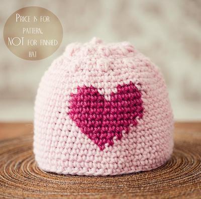 Misterpattern Crochet Pattern Heart And Bobble Hat