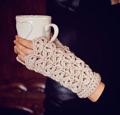 Flower Fingerless Gloves