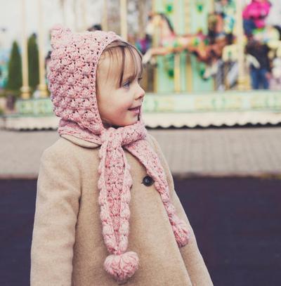 Pom-Pom scarf with hoodie