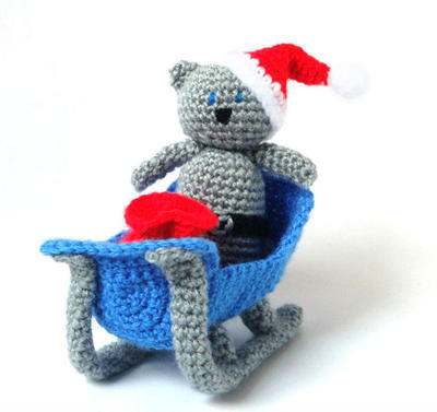 Crochet Christmas Pattern - Sleigh Santa Cat - Christmas Ornament