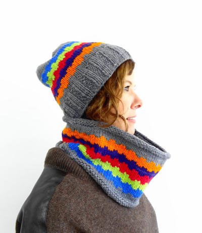 Yarn Kit - Knit Pattern - Hat and Cowl - Fiesta Hat and Cowl - One Size