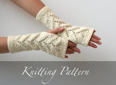 Knitting Pattern: Snowy Branches Fingerless Mitts