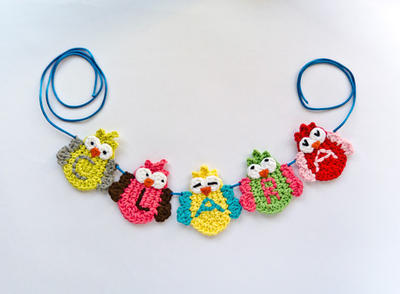 Garland of Colorful Owls