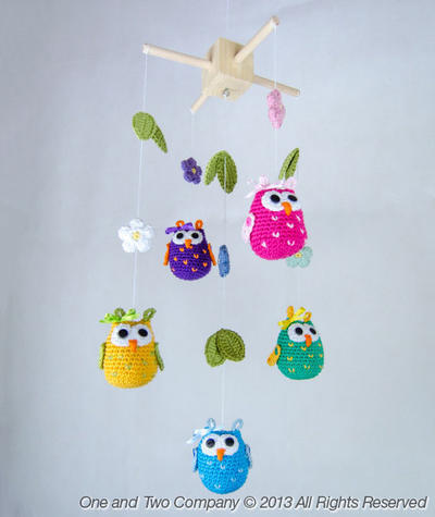 Owls and Flowers Mobile