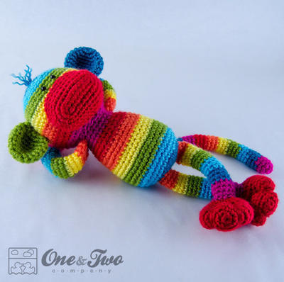 Rainbow Sock Monkey Amigurumi