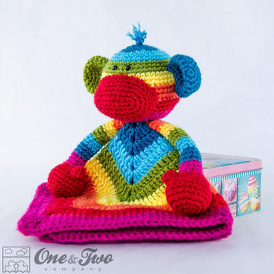 Rainbow Sock Monkey Lovey / Security Blanket