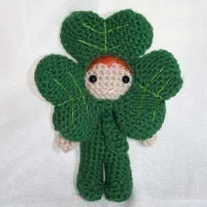 Dave the shamrock amigurumi doll