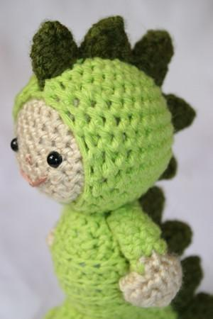 Luke in the dinosaur suit amigurumi