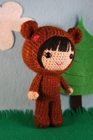 Naomi in the bear costume amigurumi doll