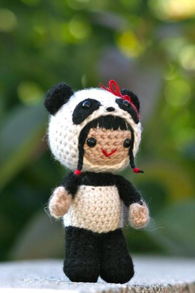 Pearl in the panda costume amigurumi doll