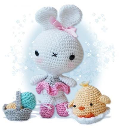 Amigurumi Crochet Pattern - Easter Bunny and Chick in an Egg Shell