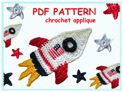 Patrón Crochet apliques Rocket and Stars
