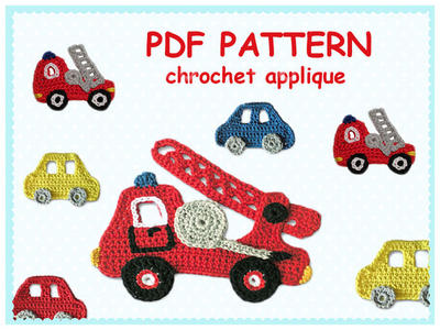 Pattern Crochet Firefighters Truck Appliques