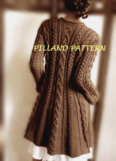 Cable Knit Coat Sweater Knitting Pattern