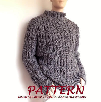 misterpattern - Men sweater Cable knit pullover knitting pattern